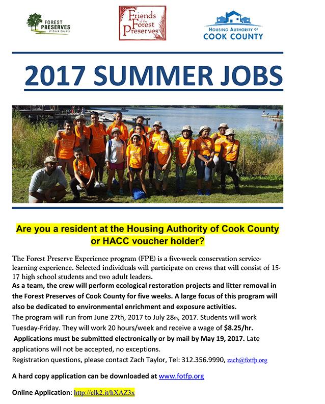 2017 SUMMER JOBS