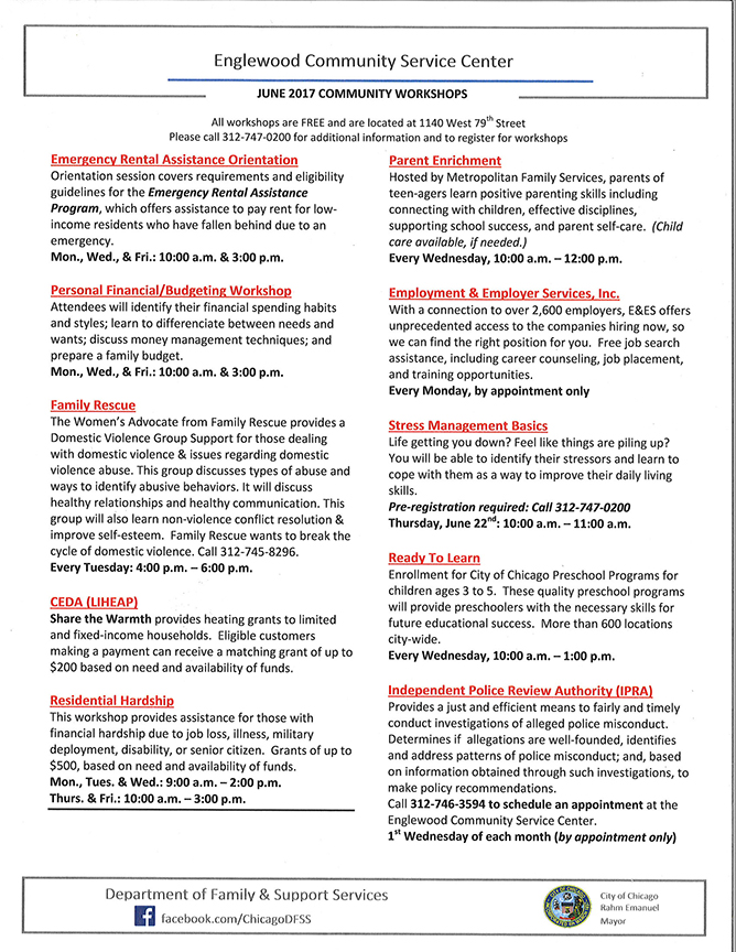 Englewood Workshops June 2017