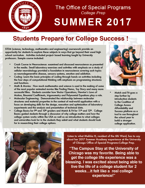 the university of chicago s office of special programs summer